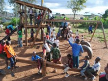 Children at a playground, the first Public Space Project site in Kibera informal settlement, Nairobi, Kenya.