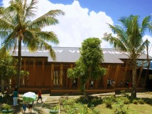 Exterior of completed Millennium School Bamboo Project, Philippines.