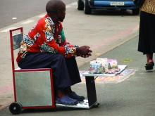 Street vendor Moses Gwiba on the Spaza-de-Move-on, Durban, South Africa.