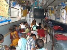 A School on Wheels classroom, Bavdhan, Pune, India.