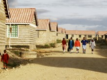 Students walking to school, Kaputiei New Town, Kenya.