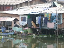 Stilt houses built above Bang Bua Canal before upgrade.