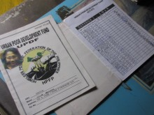 Savings books, Payatas Scavengers Association, a founding member of Homeless Peoples' Federation of the Philippines.