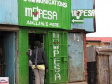 M-PESA outlet in Kibera informal settlement, Nairobi, Kenya.