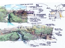 "Concept drawing of third site in Kibera, where the ""river need not be an eyesore."""