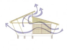 Section illustrating clerestory windows that reduce wind pressure inside building.