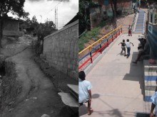 Before and after—public landings inserted at intervals in the new network of improved stairs.