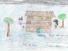 Bwaise Parish, where flooding is a regular occurrence, is depicted in a child's drawing. © IDRC/Sarah McCans