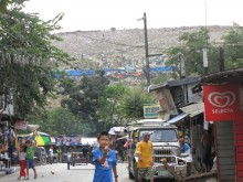 Payatas informal settlement with dumpsite in the background, Quezon City, Philippines.