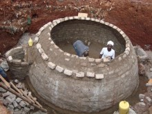 Bio-digester under construction by local artisans.