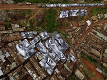 Aerial view of women's portraits, Kibera informal settlement, Nairobi, Kenya.