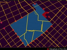 Plan of existing grid disrupture. Yellow lines denote city streets, which end at Fuerte Apache (blue area).