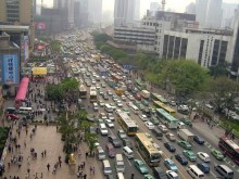Congestion in Guangzhou prior to the BRT system.