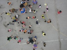 Aerial image of local participants.