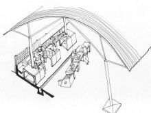 Design sketch of pre-cast cooking cubicles and steel serving tables for Bovine Head Market.