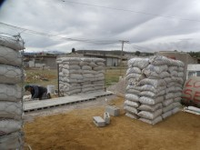 Prototype house being built by community members, Pirules section of Chimalhuacán, Mexico.