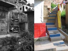 Before and after—stair upgrade with integrated basic services, San-Rafael-Barrio Unido, La Vega, Caracas, Venezuela.