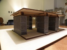 Architectural model of gabion house, Arturo Ortiz Struck's studio.